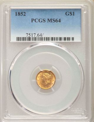 Picture of $1 Liberty Head Gold Type 1 (1849-1854) PCGS/NGC MS64 (Random Year)