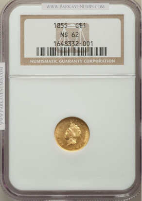 Picture of $1 Indian Head Gold Type 2 (1854-1856) PCGS/NGC MS62 (Random Year)