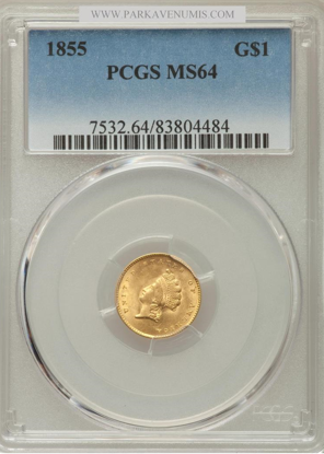Picture of $1 Indian Head Gold Type 2 (1854-1856) PCGS/NGC MS64 (Random Year)