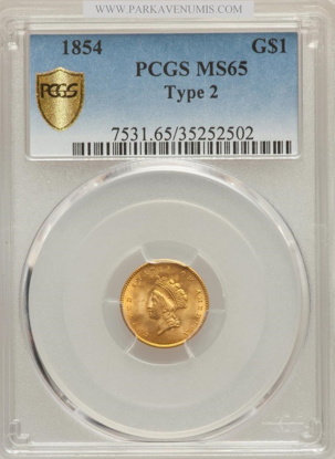 Picture of $1 Indian Head Gold Type 2 (1854-1856) PCGS/NGC MS65 (Random Year)