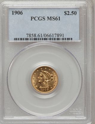 Picture of $2.50 Liberty Gold (1840-1907) PCGS/NGC MS61 (Random Year)