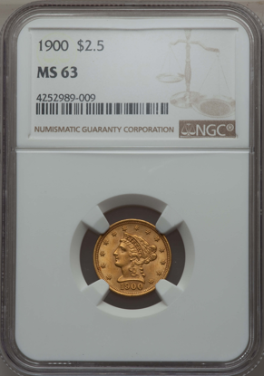 Picture of $2.50 Liberty Gold (1840-1907) PCGS/NGC MS63 (Random Year)