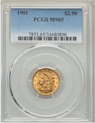 Picture of $2.50 Liberty Gold (1840-1907) PCGS/NGC MS65 (Random Year)