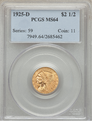 Picture of $2.50 Indian Gold (1908-1929) PCGS/NGC MS64 (Random Year)