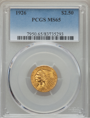 Picture of $2.50 Indian Gold (1908-1929) PCGS/NGC MS65 (Random Year)
