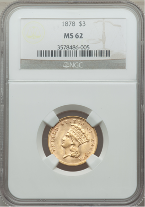 Picture of $3 Gold Princess (1854-1889) PCGS/NGC MS62 (Random Year)