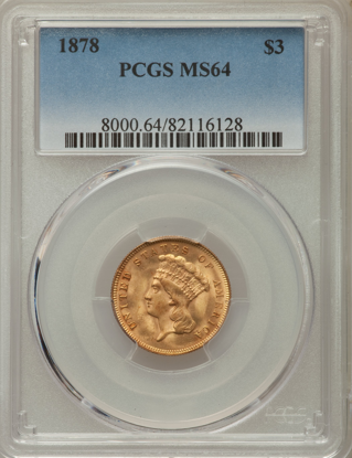 Picture of $3 Gold Princess (1854-1889) PCGS/NGC MS64 (Random Year)