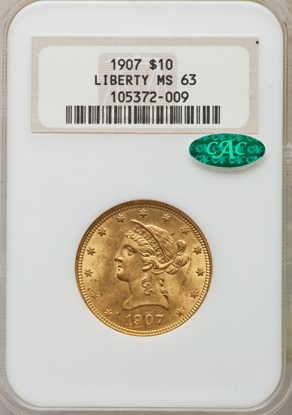 Picture of $10 Liberty Gold (1866-1907) PCGS/NGC MS63 CAC (Random Year)
