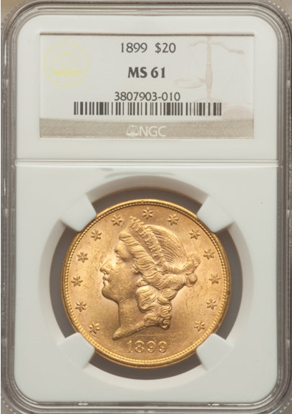 Picture of $20 Liberty Gold (1849-1907) PCGS/NGC MS61 (Random Year)