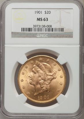 Picture of $20 Liberty Gold (1849-1907) PCGS/NGC MS63 (Random Year)
