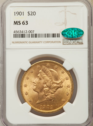 Picture of $20 Liberty Gold (1849-1907) PCGS/NGC MS63 CAC (Random Year)