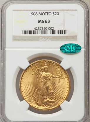 Picture of 1908 No Motto $20 Saint Gaudens PCGS/NGC MS63 CAC
