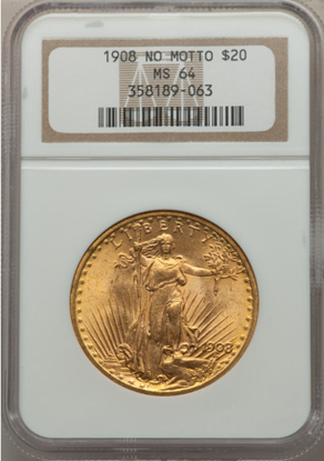 Picture of 1908 No Motto $20 Saint Gaudens PCGS/NGC MS64