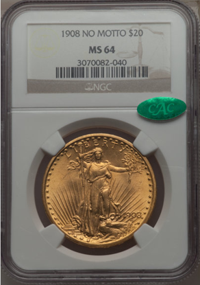 Picture of 1908 No Motto $20 Saint Gaudens PCGS/NGC MS64 CAC