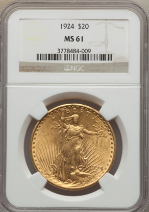 Picture of $20 Saint Gaudens With Motto (1908-1933) PCGS/NGC MS61