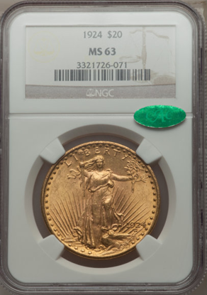 Picture of $20 Saint Gaudens With Motto (1908-1933) PCGS/NGC MS63 CAC