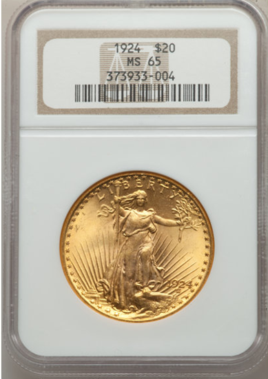 Picture of $20 Saint Gaudens With Motto (1908-1933) PCGS/NGC MS65