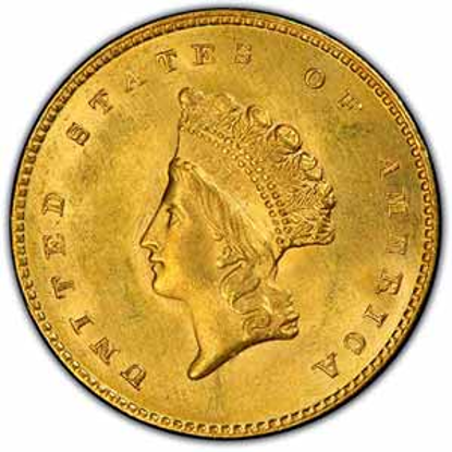 Picture of $1 Gold Indian Head Type 2 BU (1854-1856) (Random Year)