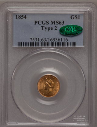 Picture of $1 Indian Head Gold Type 2 (1854-1856) PCGS/NGC MS63 CAC (Random Year)