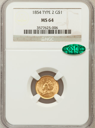 Picture of $1 Indian Head Gold Type 2 (1854-1856) PCGS/NGC MS64 CAC (Random Year)