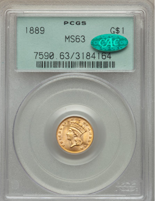 Picture of $1 Indian Head Gold Type 3 (1856-1889) PCGS/NGC MS63 CAC (Random Year)