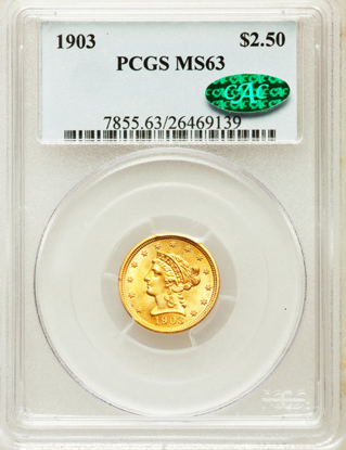 Picture of $2.50 Liberty Gold (1840-1907) PCGS/NGC MS63 CAC (Random Year)