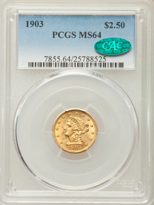 Picture of $2.50 Liberty Gold (1840-1907) PCGS/NGC MS64 CAC (Random Year)