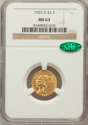 Picture of $2.50 Indian Gold (1908-1929) PCGS/NGC MS63CAC (Random Year)