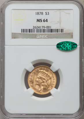 Picture of $3 Gold Princess (1854-1899) PCGS/NGC MS64 CAC (Random Year)