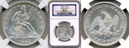 Picture of 1858-O Liberty Seated Half Dollar MS62 NGC SS Republic