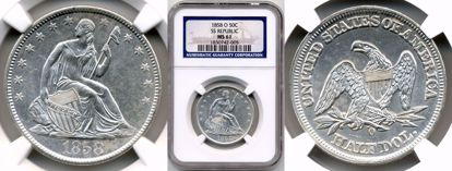 Picture of 1858-O Liberty Seated Half Dollar MS61 NGC SS Republic