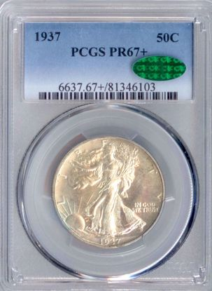 Picture of 1937 Walking Liberty Half Dollar PR67+ PCGS CAC