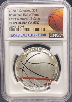 Picture of 2020 S$1 Colorized Basketball Hall of Fame PF69UCAM NGC First Official Colorized US Coin