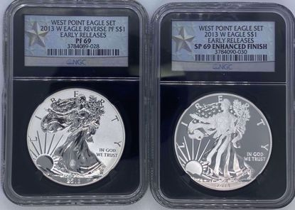 Picture of 2013-W Silver Eagle 2pc Set REV PF69/SP69 Enhanced Finish NGC Early Release Black Core