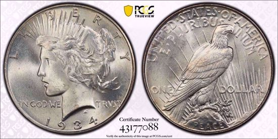 Picture of 1934 Peace Dollar MS67 PCGS