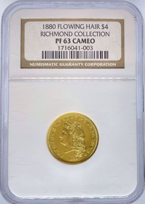 Picture of 1880 $4 Flowing Hair Stella PR63CAM NGC